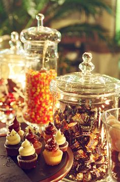 Explore millions of stunning wedding images to help inspire and plan your perfect day. Halloween Dessert Table, Halloween Candy Bar, Halloween Desserts, Candy Bar Wedding, Wedding Fun, Wedding Ideas, Candy Table, October Wedding, Autumn Theme