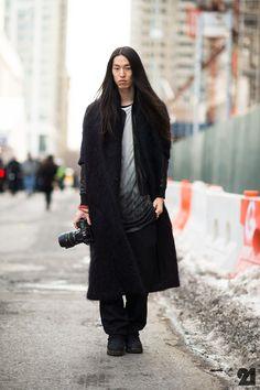 Me on Le21eme by Adam Katz Sinding    mohair coat : Verlaine  leather jacket : Yigal Azrouel  shirt : Ann Demeulemeester  pants : Comme des Garcons Homme Plus  boots : Rick Owens