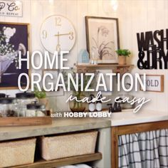 Declutter your laundry room and home office in no time at all with a few easy tricks. Office Decor, Home Office, Diy Organisation, Easy Tricks, Corner Office, Video Tutorials, Hobby Lobby, Getting Organized, Decoration