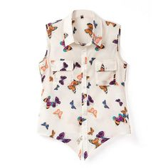 Floral Print Style Butterfly Pattern Sleeveless Blouse (€23) ❤ liked on Polyvore featuring tops, blouses, chicnova, bluzki, haut, pink sleeveless blouse, butterfly blouse, sleeveless tops, floral blouse and floral print sleeveless top