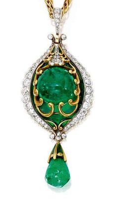 Marcus & Co. | Gold, Emerald, Diamond and Enamel Pendant-Brooch, circa 1900.