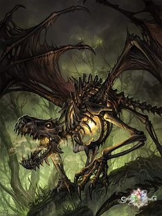 Dragon, T-Rex, Dinosaur, Skeleton, Dark Fantasy