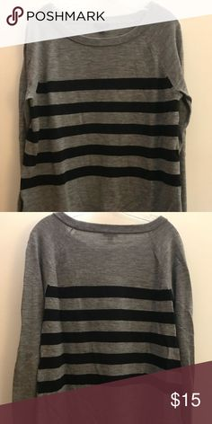 Striped Ann Taylor sweater A grey and black striped Ann Taylor sweater. Super soft, I wore it as a large for a looser fit (normally wear a size 4) 3/4 length sleeve, boat neck. Ann Taylor Sweaters Crew & Scoop Necks