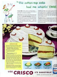 Cotton-Top Cake by Crisco, June 1948