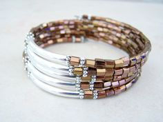 Bronze and Copper Memory Wire Bracelet by FeralsPassageGifts, $22.97