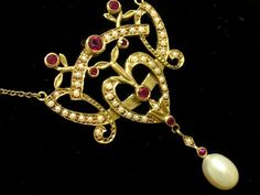 9ct Solid Gold Natural Ruby Pearl Lavalier Necklace | eBay