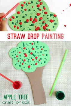 Create a straw drop painting apple tree craft to work on fine motor skills. Fall Activities For Toddlers, Apple Activities, Fall Preschool, Autumn Activities, Preschool Activities, Preschool Apples, Kindergarten Crafts, Apple Art Projects, Projects For Kids