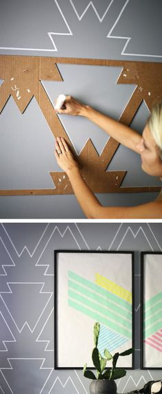 Discover thousands of images about diy wohnideen wanddekoration ethno muster kreide farbe wandgestaltung, geometrische wandgestaltung Diy Wand, Mur Diy, Statement Wall, Ideias Diy, Temporary Wall, Paint Pens, Home And Deco, Wall Treatments, Painting Patterns