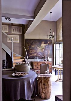 Gorgeous art, color combo of the stairs, walls with wood accents. Want it all! Lilac & beige... very tasteful combination