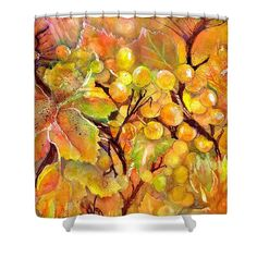 Autumn Grapes Symphony Shower Curtain by Sabina Von Arx. This shower curtain is made from polyester fabric and includes 12 holes at the top of the curtain for simple hanging. The total dimensions of the shower curtain are wide x tall. Yellow Bathroom Decor, Yellow Bathrooms, Curtains For Sale, Watercolor Paintings, Autumn, Art Prints, Artist, Art Impressions, Water Colors