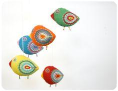 baby shower mobile - colorful birdies - nursery felt decoration. $50.00, via Etsy.