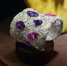A natural sapphire and diamond cuff