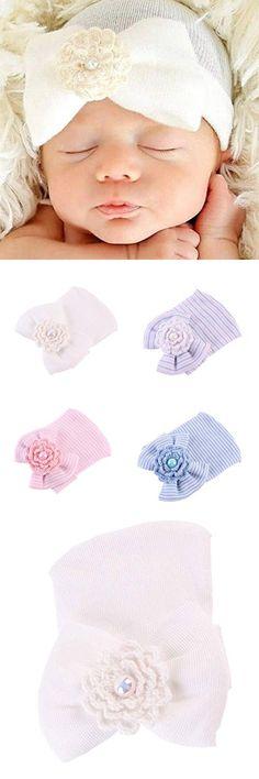 Newborn Hospital Hat, Misaky Newborn Baby Hats With Pretty Bow Flower Pearl (Free, White)