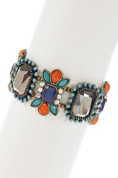 Diego Stretch Bracelet in blues and coral.