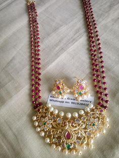 Beautiful long haaram with big pendant. Long haaram with beads. Long haaram with matching earrings. 1 Gram Gold Jewellery, Gold Jewellery Design, Bead Jewellery, Gold Jewelry, Beaded Jewelry, Gold Bangles, Indian Gold Jewellery, Gold Necklace, Gold Choker
