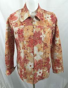 Laura Ashley Floral Print Denim Jacket Size Large Stretch | eBay