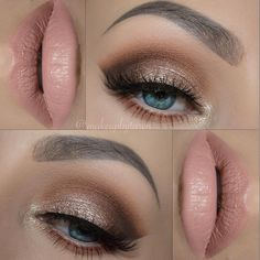 shimmery gold neutral eye w/ soft nude lips @makeupbytaren #makeup