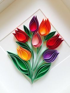 Tulips Quilling Wall Paper Art-Mixed Media Art-Home Decor-Mothers Day Gift-Uniqe Gift-Paper Anniversary Wall Decor-Quilled Flowers – Sanat işi – Kreativ Paper Quilling Flowers, Paper Quilling Cards, Paper Quilling Patterns, Origami And Quilling, Quilled Paper Art, Quilling Paper Craft, Quilling Flower Designs, Quilling Flowers Tutorial, Arte Quilling