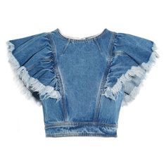 Philosophy di Lorenzo Serafini Cropped ruffled denim top ❤ liked on Polyvore featuring tops, crop top, cut-out crop tops, flutter crop top, flounce tops and frilly tops