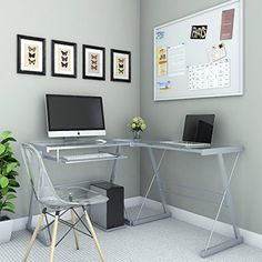 Ryan Rove Madison 3-Piece Corner L-Shaped Computer Desk in Silver