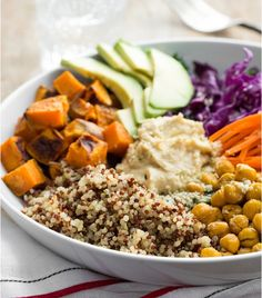 Quinoa, Hummus, and Sweet Potato Bowl 2 Tbsp EVOO onion, sliced in wedges 2 large sweet potatoes, halved 1 bundle (227 g) broccolini, large stems removed, chopped 2 big handfuls kale, larger stems removed  CHICKPEAS 1 15-ounce (425 g) chickpeas, drained, rinsed + patted dry 1 tsp cumin 3/4 tsp chili powder 3/4 tsp garlic powder 1/4 tsp each salt + pepper 1/2 tsp oregano  1/4 tsp turmeric  TAHINI SAUCE  1/4 cup (56 g) tahini 1 Tbsp maple syrup 1/2 lemon, juiced 2-4 Tbsp hot water to thin
