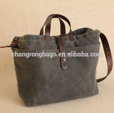 Vintage and high quality canvas tote bag with leather handle , waxed leather tote bag , canvas bag with leather trim manufacture