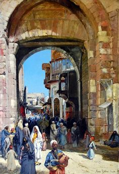 "City Gate "" Bab Zuweila "" , Cairo - 1903 By Max Friedrich Rabes - German,1868-1944  Oil on canvas , 117 x 86 cm .  The Cairo City Gate illustrates his skills and observations to perfection: The water carrier in the foreground of this painting leads your vision, with the numerous figures illustrating the chaotic and everyday life of Cairo's citizens."