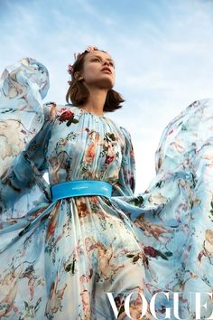 Birgit Kos heads outdoors for the February 2018 issue of Vogue China. Photographed by Camilla Akrans, the Dutch model stars in an editorial called 'The You - Birgit Kos Poses in Dreamy Fashions for Vogue China