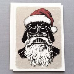 Darth Vader Santa Claus Christmas Card perfect for your favorite Jedi or Padawan. Shop Serious Creatures for unique cards they won't forget! Star Wars Christmas, Christmas Art, Christmas Ideas, Nerd Kunst, Star Wars Weihnachten, Online Art Store, Nerd Art, Black Artwork, Star Wars Party