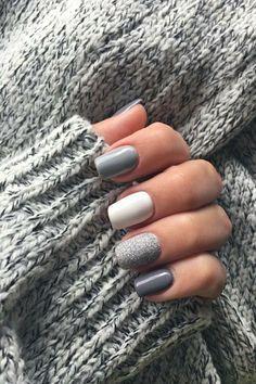 Classy Nails, Stylish Nails, Trendy Nails, Fall Acrylic Nails, Acrylic Nail Designs, Shellac Nail Designs, Fall Gel Nails, Glitter Gel Nails, Sparkle Nails