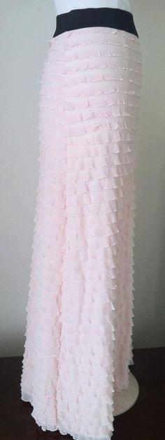 Pink Ruffle Maxi Skirt