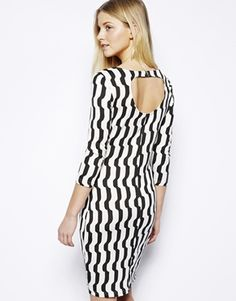 Image 1 of Vero Moda Body-Conscious Dress In Wave Stripe Print