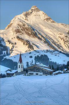 Sunset in Warth, Austria. Warth is in the district of Bregenz in the Austrian state of Vorarlberg.