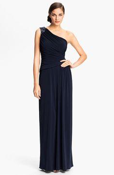 Eliza J Embellished One Shoulder Shirred Jersey Gown available at #Nordstrom  $178