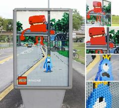 Brand: Lego  Type: Bus Shelter  This is effective because it fits into the respective setting of the location but at the same time shows ways you could imagine lego appearing like if you were playing with them.