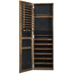 Artisan Wall Mount Jewelry Armoire With Mirror In Light Oak