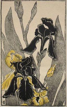 yama-bato:    irises  Otto Eckmann (1865-1902)  color woodcut, 21,8 x 12,5cm