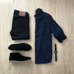 Blue Button Up ◻ Black Pants ✔ Watch ◻ Black Shoes ✔ Casual Wear, Casual Outfits, Men Casual, Fashion Outfits, Next Clothes, Outfit Grid, Men's Wardrobe, Men Style Tips, Mens Clothing Styles