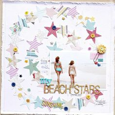 Beach stars. stitching in a circle. Stitched white paper to kraft background with distressed edges. Soft color scheme.