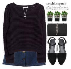 """Cute in black"" by mihreta-m ❤ liked on Polyvore featuring MANGO and Threshold"