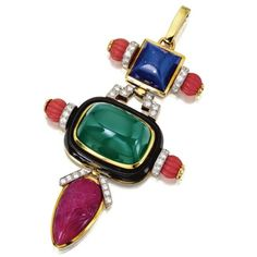 18 Karat Gold, Platinum, Colored Stone, Coral, Diamond and Enamel Pendant, David Webb. photo Sotheby's