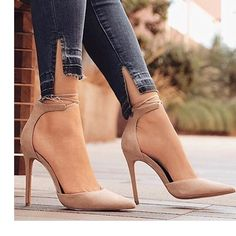 Ankle Strap Crisscross Stiletto Pumps Ankle straps on the Storenvy cross-stitched high heels - Fancy Shoes, Cute Shoes, Stiletto Pumps, Pumps Heels, Nude Heels, Pointed Heels Outfit, Tan Strappy Heels, Pointed Toe Heels, Heeled Sandals