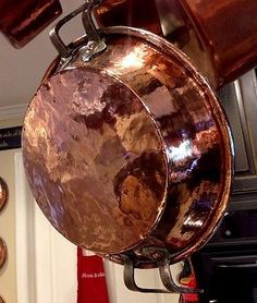 19TH-C-ANTIQUE-FRENCH-COPPER-TOURTIERE-HAND-HAMMERED-PAN-MEAT-PLAT-GRATIN-2-7LB