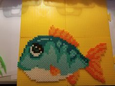 Fish perler bead pattern made from a cross stitch pattern