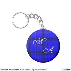 Scottish Blue Tartan Plaid Fabric With Monogram Keychain