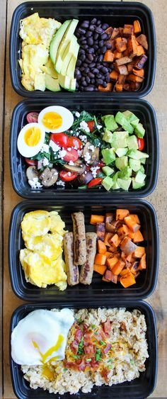Make-Ahead Breakfast Meal Prep Bowls are quick, easy and healthy recipes to make for grab and go breakfasts all week! Breakfast! It's the most important meal of the day. And since mornings suck … breakfast should be a meal that makes your taste buds happy http://healthyquickly.com