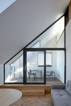 Image 59 of 75 from gallery of Nádvorie / Vallo Sadovsky Architects. Photograph by BoysPlayNice Contemporary Building, Contemporary Architecture, Interior Architecture, Ultra Modern Homes, Courtyard Design, Modern Buildings, Concrete Floors, Modern House Design, Ground Floor
