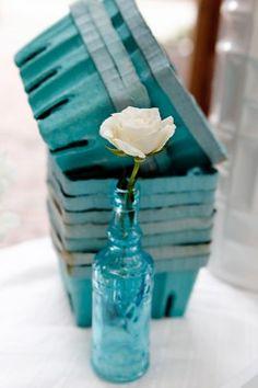 Single Flower in Blue Glass Vase Fruit Baskets Elizabeth Anne Design Shades Of Turquoise, Turquoise Glass, Aqua Blue, Shades Of Blue, Blue Glass Vase, Bottles And Jars, Glass Bottles, Love Blue, Easter Party