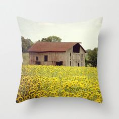 Decorative Pillow Cover Sunflower Barn Brown Yellow Farmhouse Rustic Vintage Country Autumn Fall Landscape Photo Case Home Bedroom Decor