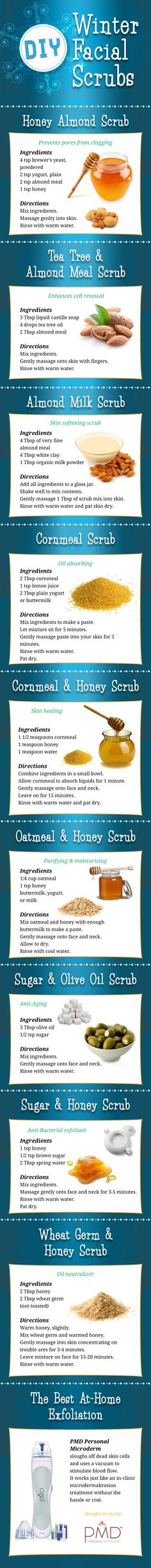 DIY Winter Facial Scrubs,Skin need a pick me up this winter? Try one of the DIY Winter Facial Scrubs on the info-graphic. Beauty Secrets, Beauty Hacks, Beauty Tutorials, Beauty Care, Hair Beauty, Beauty Myth, Diy Beauté, Facial Scrubs, Body Scrubs
